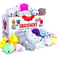 20 Mochi Squishy Toys, FREE CASE, 16 Animals 11 Colors, PARTY FAVORS AWEGLO Prime Silicone Small Mini Squishies Toy Boys Soft Kawaii Squishys Pack Kids Fidget Cat Stress Reliever No Slow Rise Sqishy's