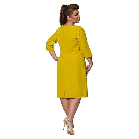 Vestido de Mujer Vestidos de Mujer New Spring Summer Moda Color Puro Mujer Gorda Vestido de Gran Tamaño Rojo, Amarillo (Color : Yellow, Tamaño : XXXXL): ...