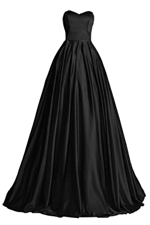 Topdress Womens Sweetheart Prom Dress Satin Long Evening Dress with Train Black ...
