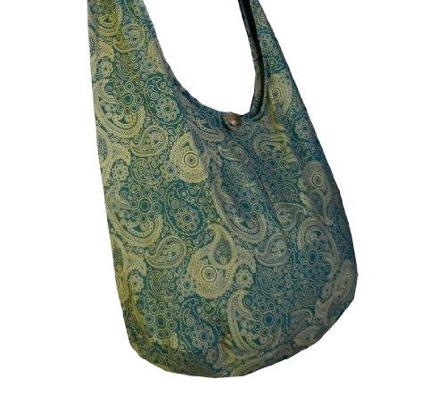 Hippie Thai Messenger Large BTP Cotton Purse Green Crossbody Pl23 Sling Bag Hobo Paisley Print TpB6q
