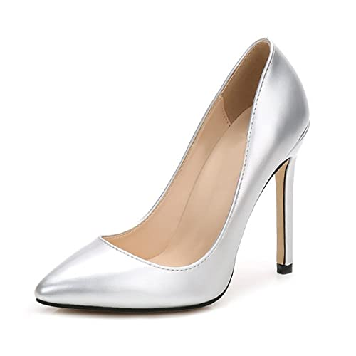 OCHENTA Women s Patent Leather Slip on Stiletto Dress Pump Silver Tag ... 0e51b3696166