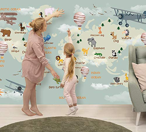 Murwall Nursery Wallpaper For Kids World Map Wall Mural Cartoon Animals and Hot Air Balloon Wall Print Children Rooms Boys Girls Bedroom Play ()