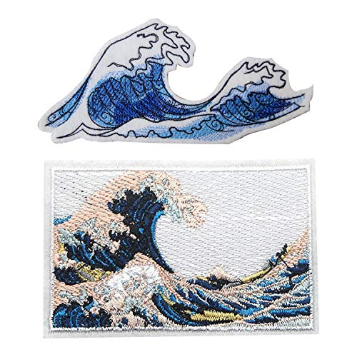 (The Great Wave Off Kanagawa Patch Sew On Iron On Patches, 2 Pack, Embroidered Big Crashing Waters Applique Badge Great for Backpacks Canvas Tote Bags Jackets Hats Clothing, Japanese Folk Art Gift)