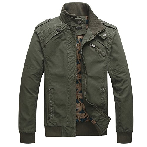 Men Casual Long Sleeve Full Zip Jacket with Shoulder StrapsJL2L,Army Green,Medium/Tag 2X-Large