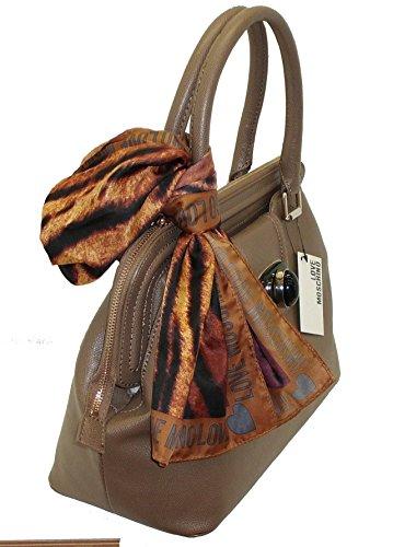 Borsa Love Moschino JC4264 woman handbag con foulard seta TAUPE
