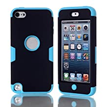 iPod Touch 5 Case,iPod Touch 6 Case, NOKEA Layered 3in 1 Hard PC Case Silicone Shockproof Heavy Duty High Impact Armor Hard Case for Apple iPod Touch 6 5th Generation (Black Blue)