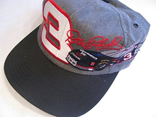 NASCAR Dale Earnhardt Sr #3 Soft Cloth Two Tone Black Grey Gray Goodwrench Service Car Image On Brow Hat Cap One Size Fits Most OSFM