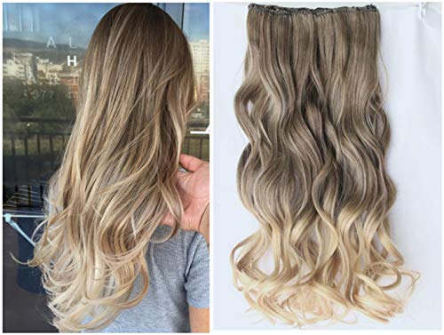 20 Inches Full Head Ombre Dip Dyed Loose Curls Wavy Curly Clip-in Hair Extensions 6pcs Pack (Col. Ash brown to sandy blonde) DL