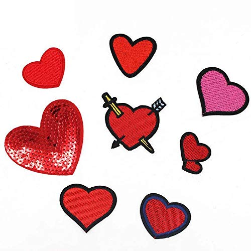 8Pcs/Lot Embroidered Embroidery Needlework Sewing Love Heart Appliques Iron on Sequined Patch Patchwork Patches for Girls Clothes Women Girl Lady Jeans Coat Badge Emblem Stickers