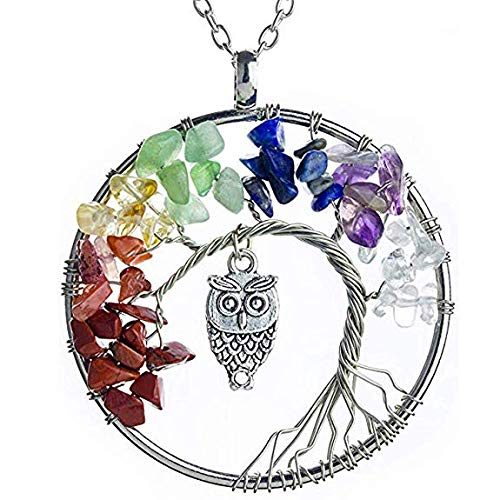 NIUTAH Chakra Gemstone Tree of Life Natural Tumbled Gemstone Wire Wrapped Pendant Necklace (Silver Abalone)