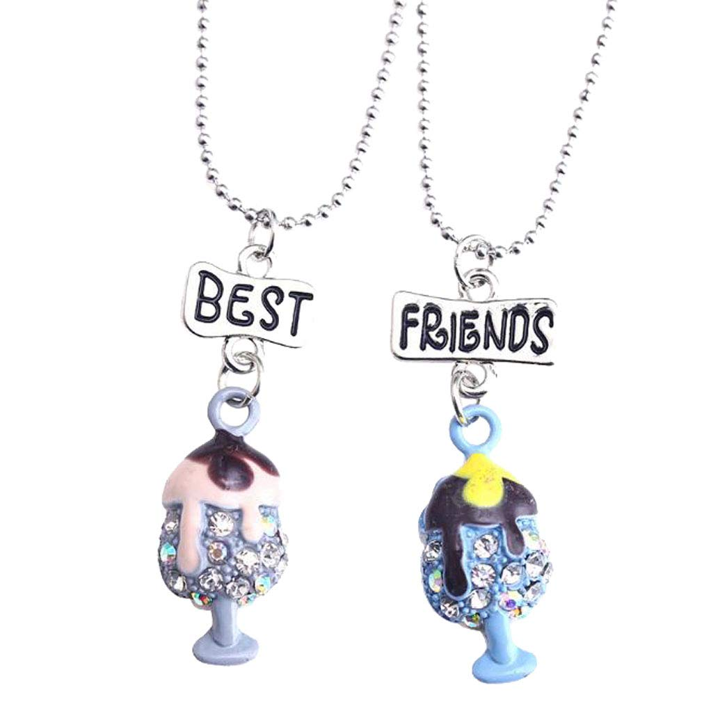 CliPons Cute Crystal Ice Cream Pendant Princess Necklaces Best Friends Jewelry Set for Girls
