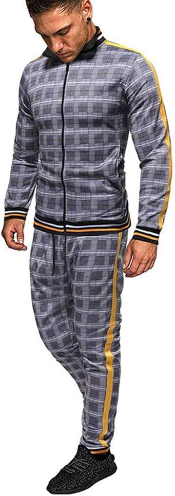 XJIANQI 2pc Chándal De Cremallera De Plaid De Hombre, Sudadera Impresa Top Pantalones Sets Sports Traje Chándal