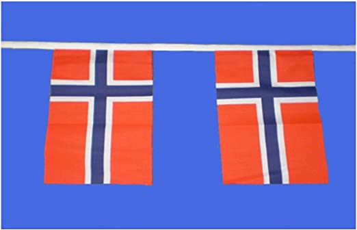 Norway Bunting 9metres 30ft Long with 30 Cloth fabric Flags