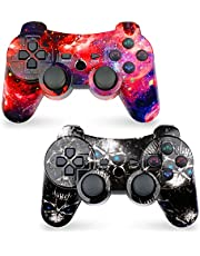 CHENGDAO Wireless Controller 2 Pack for PS3 with High Performance Double Shock (Skull + Galaxy)