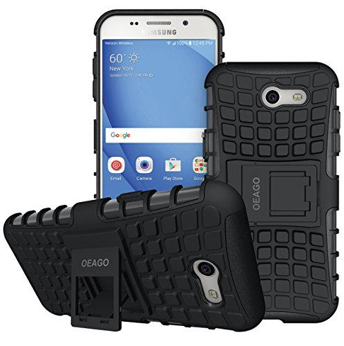 OEAGO Samsung Galaxy J3 Emerge / J3 Prime / J3 Eclipse / J3 2017 / J3 Luna Pro / J3 Mission / Sol 2 / Amp Prime 2 / Express Prime 2 Case, Tough Rugged Dual Layer Case with Kickstand (Black)