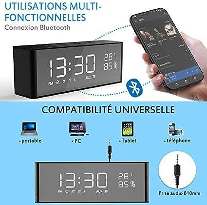 Haut Parleur Bluetooth avec 2 Digital Réveil + Radio FM, Affichage LED, Appel Vocal, Carte TF, câble AUX, Horloge, sans Fil Haut Parleur Portable avec