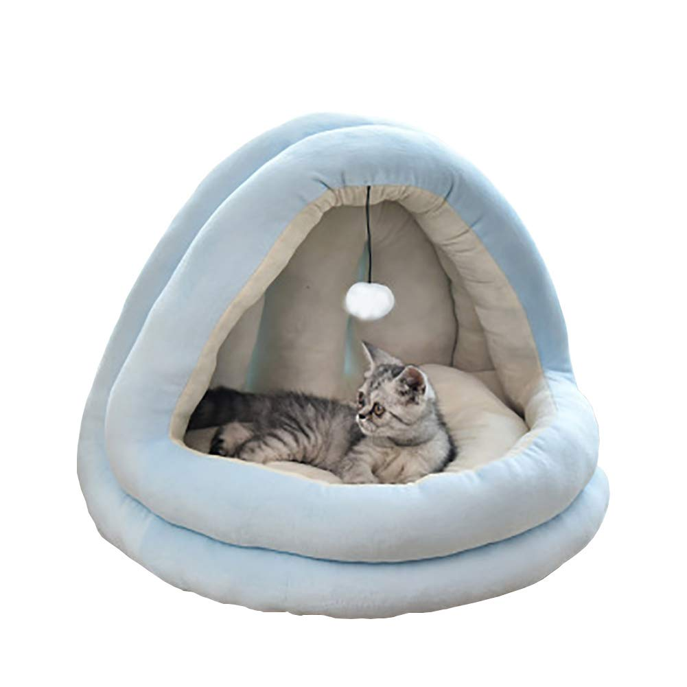 YunNasi Cat Bed Cat Cave Pet Bed for Cats Dogs Comfortable 38x33x33cm M, Blue