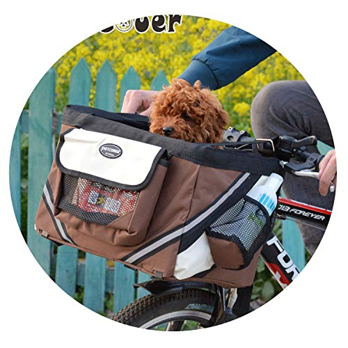 - ZZmeet Pet Bicycle Carrier Bag Puppy Dog Travel Bike Carrier Seat for Small Dog Basket Products Travel Accessories,Brown,38x27x26cm
