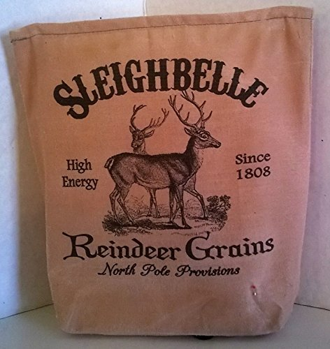 000 - Sleighbell Reindeer Grains Fabric Feed Sack Luminary Bag with Country, Primitive, Vintage Image. Battery Operated Flickering Candle and Candle Holder Included.