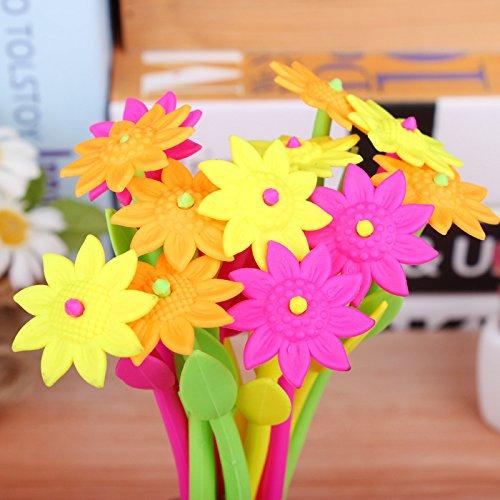 DoDoo Set of 6 Cute Cartoon Silicone Flower 0.38mm Fine Point Black Gel Ink Refill Rollerball Pen Set