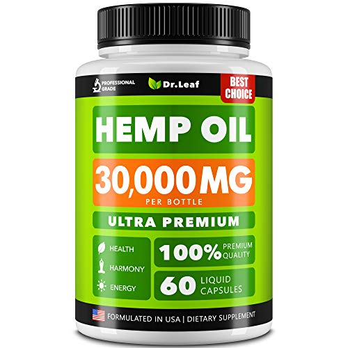 Hemp Oil Capsules 400,000 – Stress & Anxiety Relief – Made in The USA – Rich in Omega 3-6-9