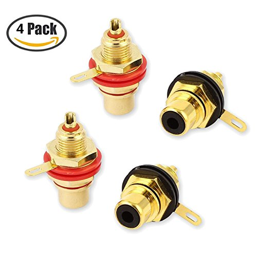 - VONOTO 4Pack RCA Female Socket Connector Chassis Panel Mount Adapter for Amplifier Audio Terminal RCA Plug
