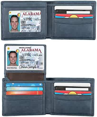 RFID Blocking Cowhide Leather Bifold Wallet for Men with 2 ID Windows