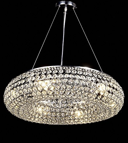 Diamond Life 6-light Chrome Finish Metal Shade Crystal Chandelier Hanging Pendant Ceiling Lamp Fixture, #317