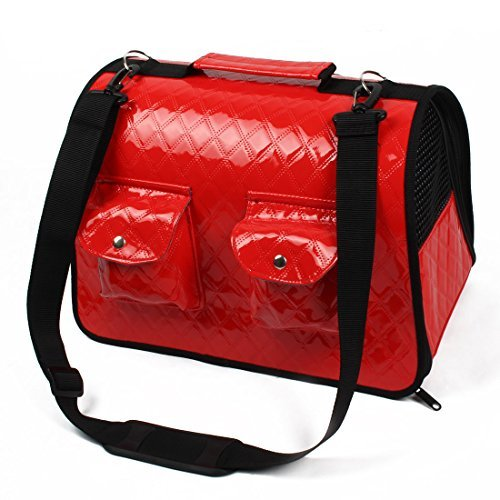 DealMux Faux Leather Outdoor Foldable Meshy Soft Sided Zipper Two Pockets Design Pet Dog Carrier Cage Handbag