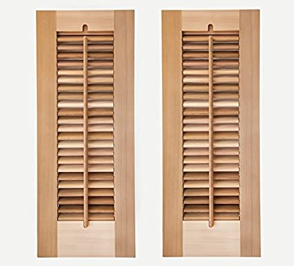Timberlane Outdoor Cedar Shutter Pair With Operable Louvers   Unpainted  12u0026quot ...
