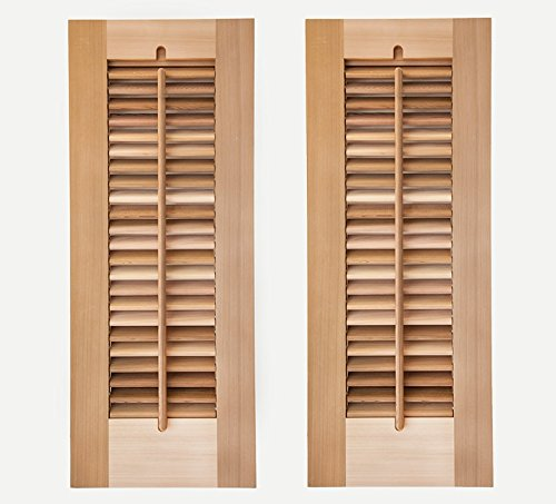 Timberlane Outdoor Cedar Shutter Pair with Operable Louvers - Unpainted 12''W x 30''H