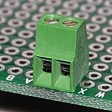 Electronics-Salon 10pcs 2 pôles Bornier à vis universel PCB de 2,54 mm / 0,1 po