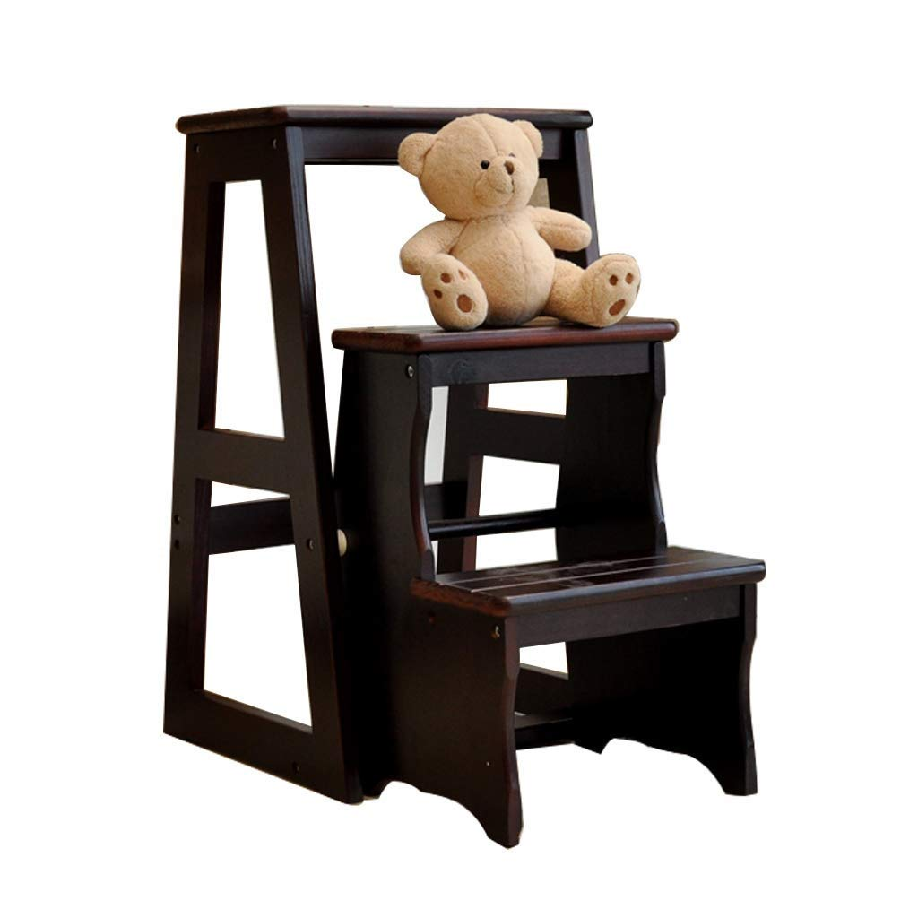 1 Solid Wood Stool, 3 Steps Ladder, Stair Step, Old Man, can be Used for Garden, Office, Family, Library, Maximum Load  150kg (Walnut color) (color    1)