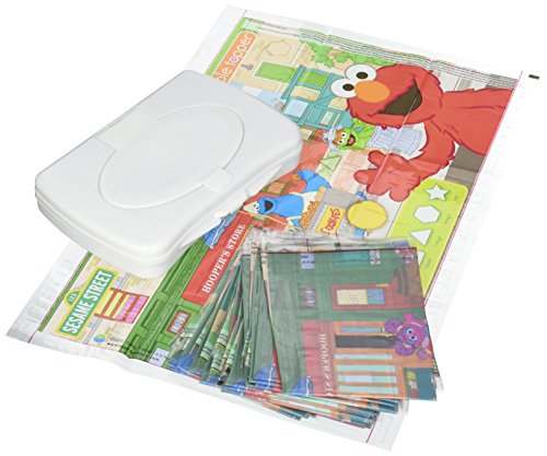 (Sesame Street Table Topper Disposable Stick-on Placemats with Reusable Pop-up Travel Case, 50-Count)