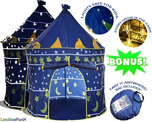 Kids Play Tent with Light Bonus Carrying Case [ Pop Up Portable Glow in The Dark Stars Blue ] Children Castle Playhouse for Girls Boys Baby Toddler, Indoor & Outdoor Use