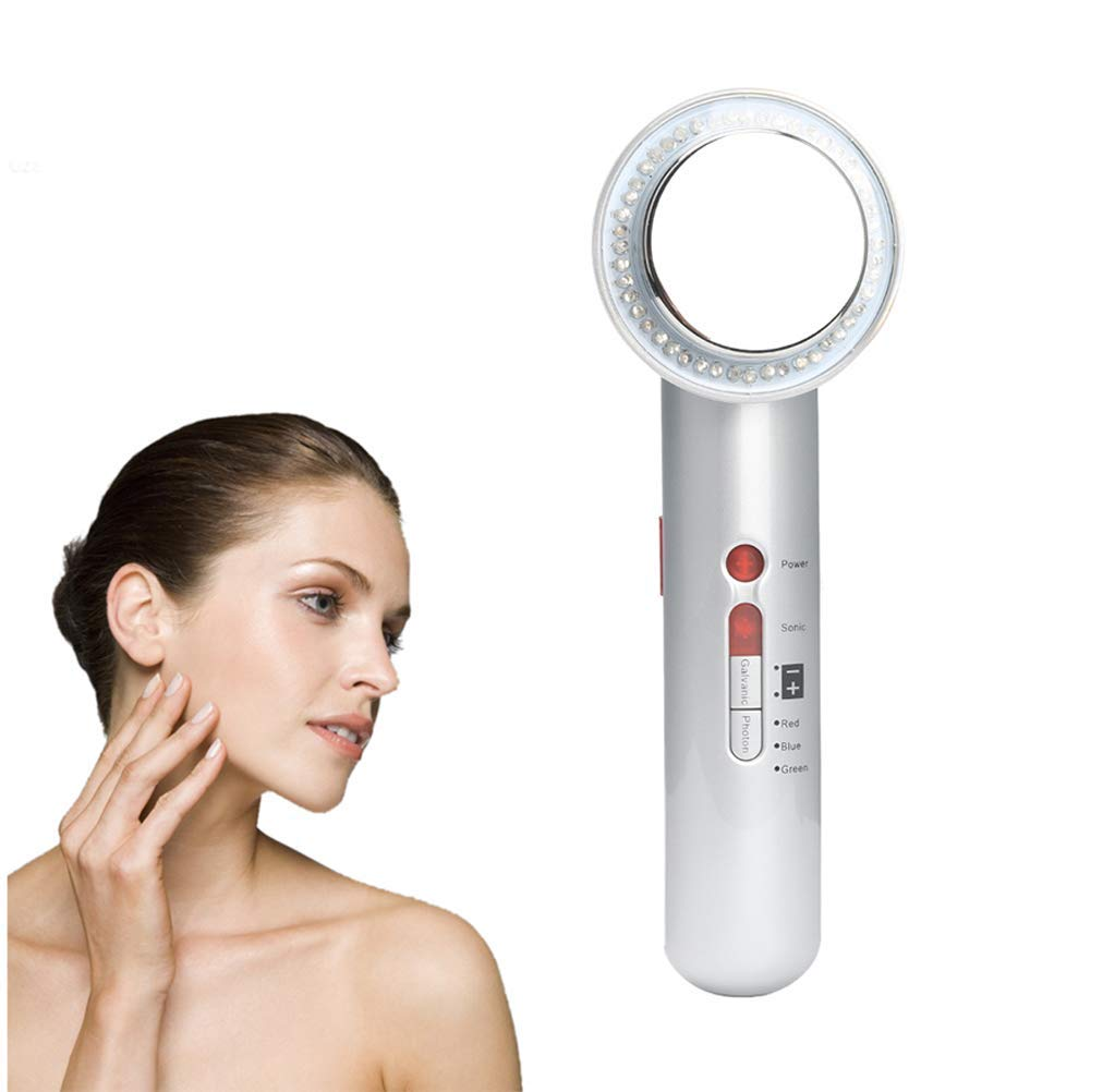 Ultrasonic Body Slimming Massager, 7 in 1 EMS Galvanic Photon Wrinkles Remove Skin Rejuvenation Beauty Cellulite Firming Machine, with Gloves,Pearl White WJ
