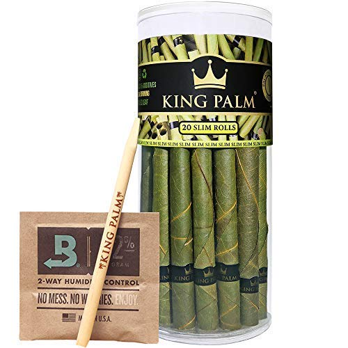 - King Palm Slim Size Natural Slow Burning Pre-Rolled Palm Leafs with Filter Tip (20 Pack)