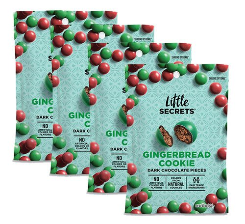 Little Secrets All Natural Fair Trade Gourmet Chocolate Candy - GingerbreadCookie Dark Chocolate {5 oz, 4 Count} - The World's Most Unbelievably Delicious Chocolate (Gingerbread Candy)