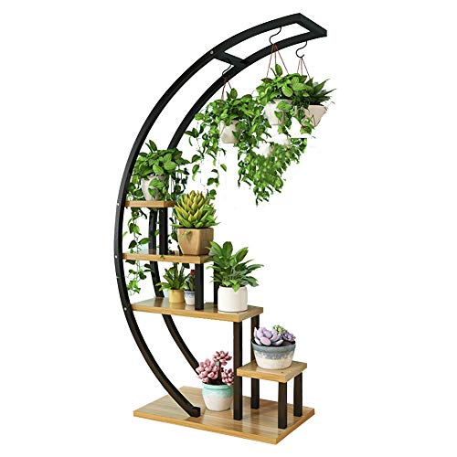 XJJUN Plant Flower Stand Semicircle Floor-Standing 5 Layers Large Capacity Strong Load Bearing Capacity Living Room Metal, 12 Colors (Color : Black#D)