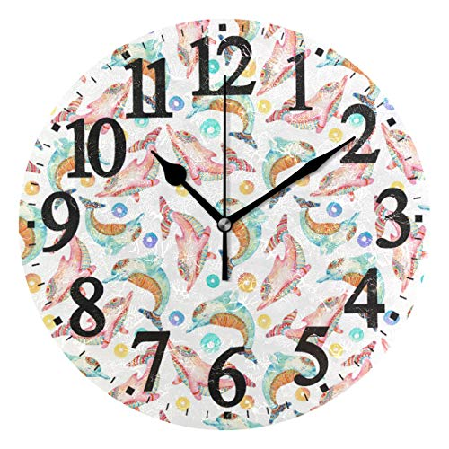 WIHVE Round Wall Clock Watercolor Dolphin Ring Home Art Decor Non-Ticking Numeral Clock for Home Office ()