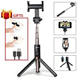 Integrated Bluetooth Selfie Stick Tripod with Wireless Remote Mini Pocket Extendable Monopod Aluminum Alloy 360 Degree Rotation for iPhone X, 8, 7/7 Plus/6 Plus/6S Plus, Samsung Galaxy Series