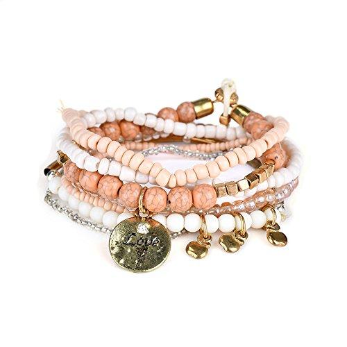 LUREME Bohemian Beads Coin Love Charms Multi Strand Textured Stackable Bracelet Set-Lt Orange(bl003062-5)