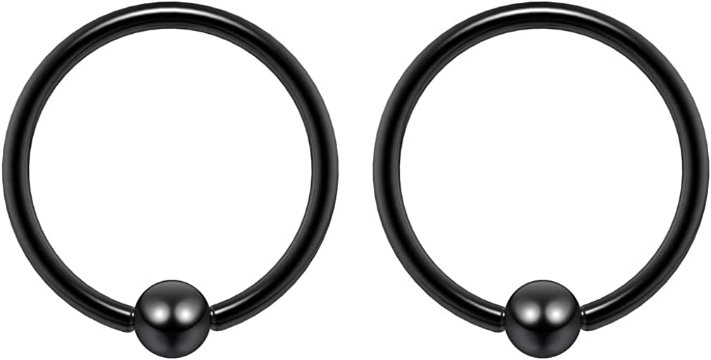 Pair 20g-14g Black Rainbow Rose Gold Surgical Steel Captive Bead Body Piercing Hoops (Select Color Gauge Diameter)