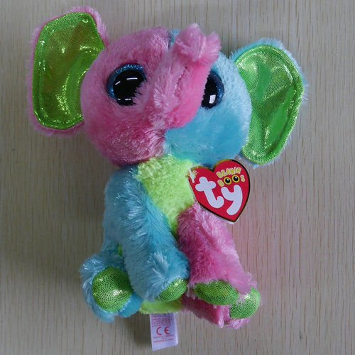 Nicky's Gift Beanies Boos Justice Elfie Pink Green Elephant 6 inch Stuffed Doll New