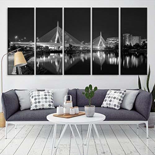 Home Decor Boston: Amazon.com: Large Wall Art Grayscale Boston Skyline Canvas