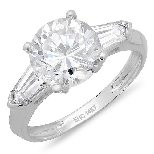 (Dazzlingrock Collection 2.50 Carat (ctw) 14K Round Cubic Zirconia With Baguette Accents Ladies Engagement Ring, White Gold, Size 6)