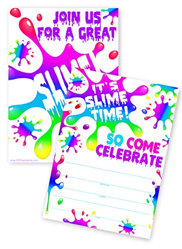 (POP parties Slime Rainbow 20 Invitations - 20 Invitations + 20 Envelopes - Double Sided - Slime Party Supplies - Slime Party Decorations - Slime R 20ct)