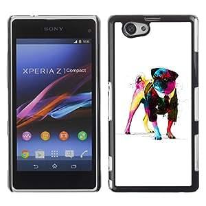 Be Good Phone Accessory // Dura Cáscara cubierta Protectora Caso Carcasa Funda de Protección para Sony Xperia Z1 Compact D5503 // Awsome Gentleman Pug
