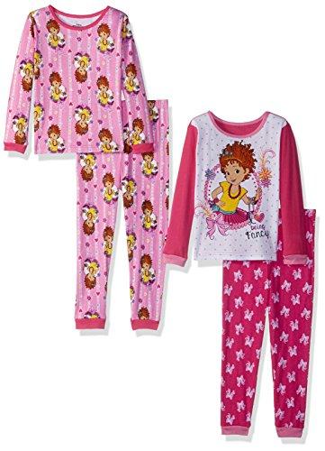 Disney Girls' Toddler' Fancy Nancy 4-Piece Cotton Pajama Set, Pink, 2T