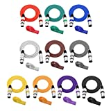 MagiDeal 10 Pieces Colorful 3 Pin XLR Male to Female Microphone Cable DMX512 Cables Wires 2m/78.74inch